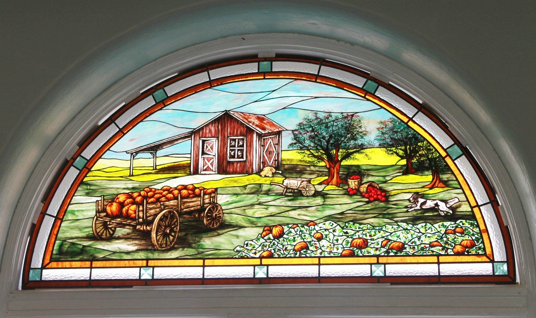 May the harvest always be bountiful stained glass window for Noyes home