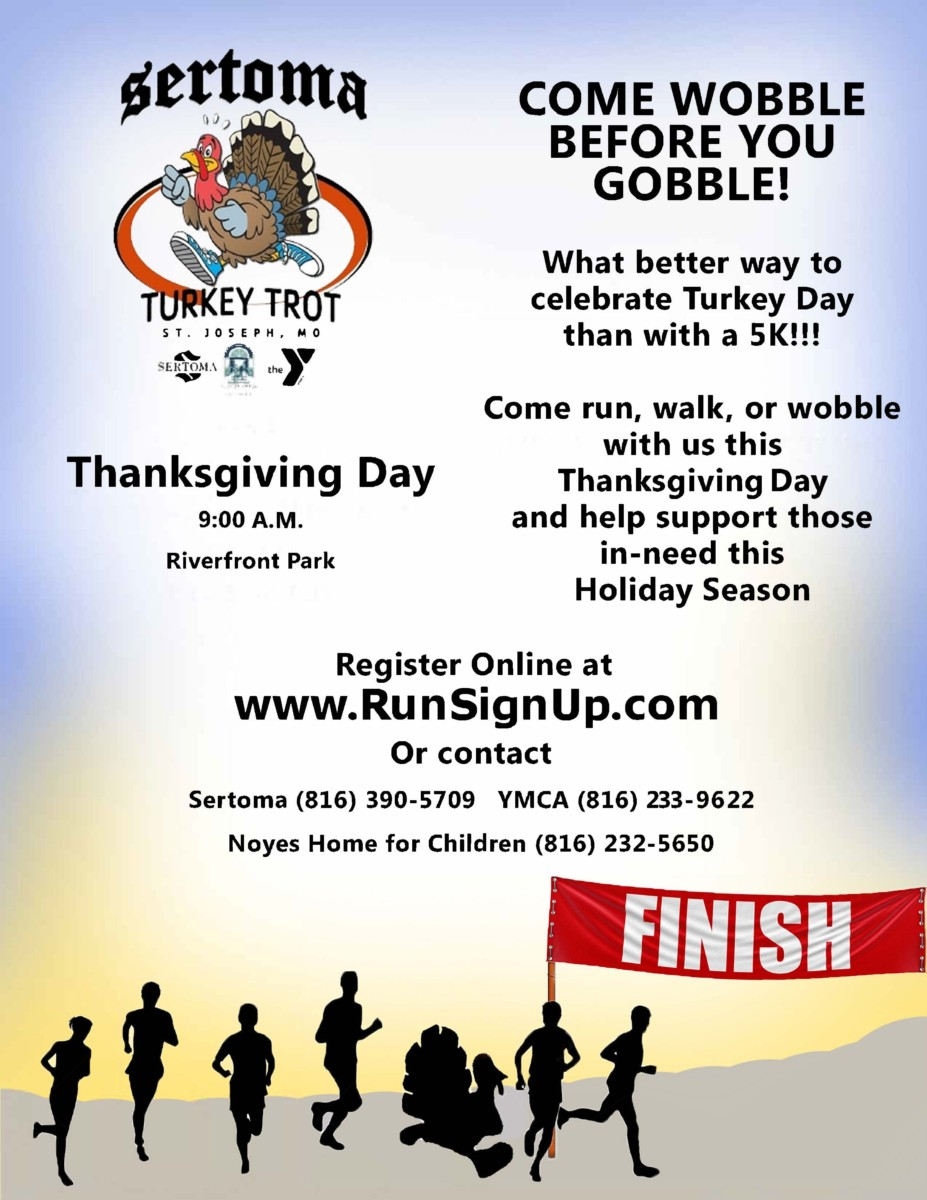 2019 5K Run in St. Joseph Mo! Turkey Trot Benefiting The YMCA and Noyes Home for Children