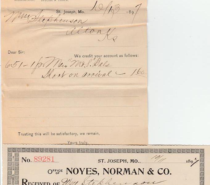 Norman Shoe Company Receipt 1897