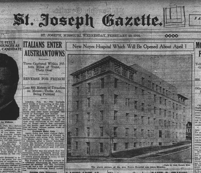 History Of Noyes Hospital in St. Joseph Mo - aka Frederick Towers